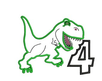 Dinosaur 4th Birthday Applique Design PES format only - Machine Embroidery instant download 4x4, 5x7, 6x10