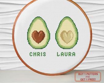 bff avocado personalized modern cross stitch pattern PDF - Instant download. Buy 1 pattern - get 1 free