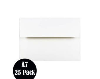 A7 Envelopes, White 5x7 Square Flap,  25 Envelopes  - P101-A7-25
