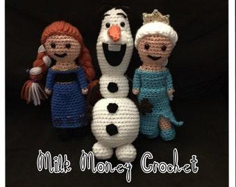 Frozen crochet Set - Elsa, Anna & Olaf