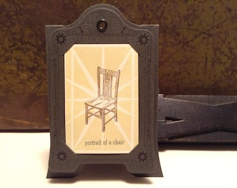 Portrait of a Chair limited edition hand letterpress printed mini art print with paper frame
