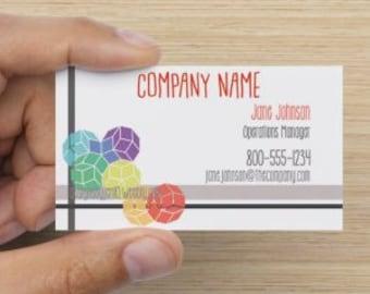 Rainbow Tessellation Geometric Pattern Business Card Layout - Customizable