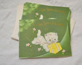 1950s NOS Kitten Shower Gift Card with Envelope