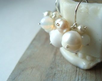 White Cluster Bridal Earrings Pearl Jewelry Wedding Jewelry Shabby Chic Bridal Jewelry Old Fashioned Weddings
