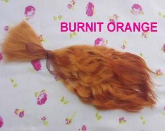 "Doll hair-9-10""-Mohair-Angora goat-Burnit Orange-Blythe-Bjd-curly wig-reroot-Reborn-Pullip-Dollfie-Msd-Monster High-After High-Minifee-weft"