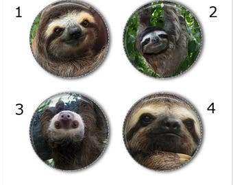 Sloth magnets or pins, Choose your own set of 4! Sloth buttons, refrigerator magnets, fridge magnets, office magnets