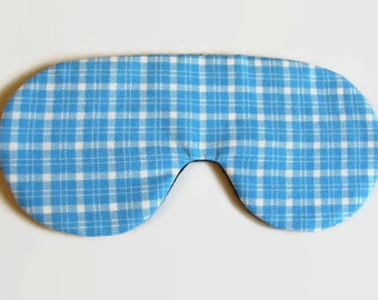 Light Blue Plaid Adjustable Sleeping Mask, Eye Mask, Blue Sleep Mask, Lightweight Sleep Mask