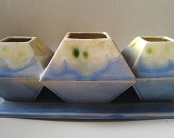 Mid Century ceramic planter succulents air plants organizer blue , green , cream made in japan drip glaze 1970