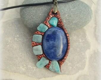 amazonite sodalite pendant