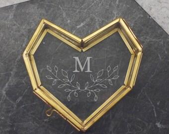 Geometric Heart Jewellery Box, Personalized Initial Jewelry Storage, Minimal Wreath, Personalised Mini Glass Heart Box With Wreath Initial