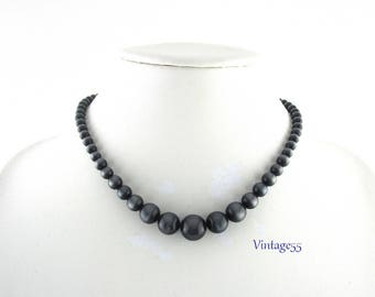 Necklace Lucite Moonglow Beaded Charcoal Grey