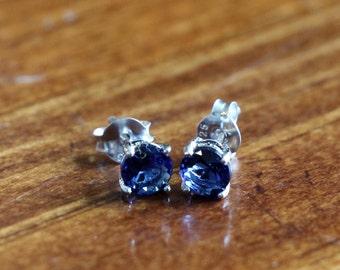 September Sapphire Birthstone Earrings- Sterling Silver - Girl Jewelry- Birthday Present