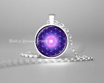 FLOWER of LIFE Purple Necklace Mandala Necklace Flower Of Life Necklace Flower Of Life Jewelry Spiritual Necklace Sacred Geometry Zen Gift