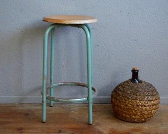 Tabouret vintage style industriel haut métal bois usine atelier mange debout antic industrial stool midcentury craft seat french deco