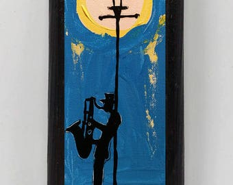 All That Jazz Collage on Wood 4030