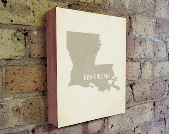 New Orleans Art Print - Louisiana Art - New Orleans Art - New Orleans Louisiana - I Love New Orleans - Wood Block Art Print