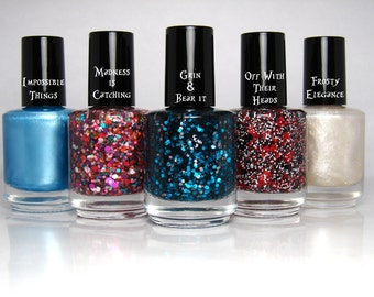 FULL SIZE Down The Rabbit Hole Collection - Alice in Wonderland Nail Polish Glitter Frost