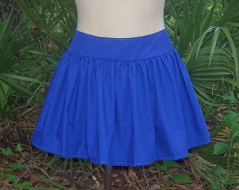 Gathered Mini Skirt - Tapered Waist Band - Any Size and Any Color - Get the Look of a Full Gathered Skirt While Minimizing Your Waist Line