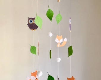 Woodland Baby Mobile With Owls & Foxes