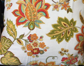 Pair of bright floral over white pillow covers