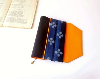 Protects-pocketbook adjustable fabric with bookmark (Japanese/indigo_bleu_noir_orange fabric)