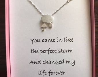 Silver Plated Storm Pendant Necklace With poem for wife/girlfriend/friend