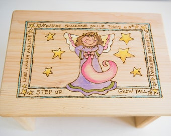 Customizable Wooden Stool for Toddlers and Children Wood-burned and Hand-painted