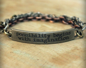 "2pc Indie Inspirational Quote Interchangeable Bracelet ... ""Possibility begins with imagination"""