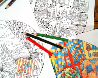Set of 3 Adult Coloring Pages; Lineart; Intricate Coloring; Whimsical Coloring; Printable Digital Adult Coloring Book; Coloring Interiors;