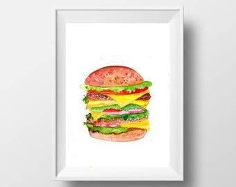 Hamburger watercolor painting abstract food print country kitchen wall art deco restaurant  decoration minimalist poster sign burger decor