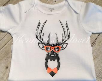 Hipster Deer Bodysuit, Baby Bodysuit, Custom Made Bodysuit, Baby Gift, Baby Boy, Hipster Deer Toddler Shirt