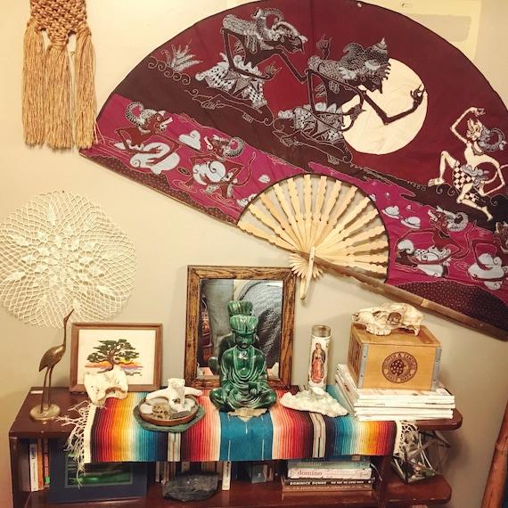 Oversized Bamboo & Indonesian Fabric Fan / Bohemian Wall Decor