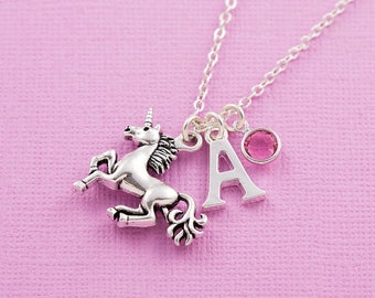 Unicorn necklace, personalized jewelry, initial necklace, swarovski birthstone, birthstone necklace, unicorn jewelry, unicorn gift, for her