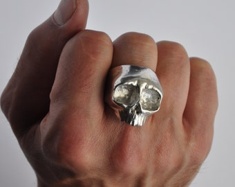 Chunky Top Jaw Silver Skull Ring