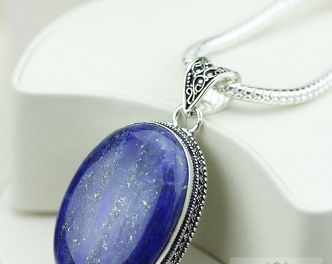 Oval Shaped Lapis Vintage Filigree Setting 925 S0LID Sterling Silver Pendant + 4mm Snake Chain & FREE Shipping p3264