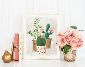 Potted Cactus Print-Potted Succulent Print-Cactus Print-Succulent Print-Cactus Art-Succulent Art-Botanical-Instant Download-Wall Art Decor