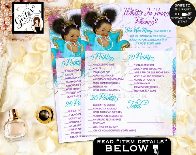 "Baby Shower Games What's In Your Phone, Princess, African American Girl, Tiara Turquoise Purple Gold 7x5"" 2 Per Sheet. INSTANT DOWNLOAD"