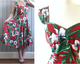 1950s Vintage Hawaiian Red Floral Sundress | 1950s Style Dress | Hibiscus Flower Print | Vintage Hawaii | 1950s Dress | Vintage Clothing