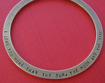 personalized brass bangle bracelet - customize both sides