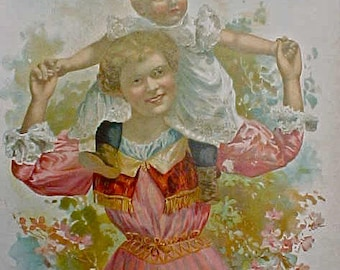 Lovely July 1898 Lithograph Calendar Page by McLoughlin Bros.-Mother with Baby