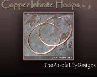 Copper Infinite Hoops, 18g,Hand forged by PurpleLily Designs, XXL, 2 inches