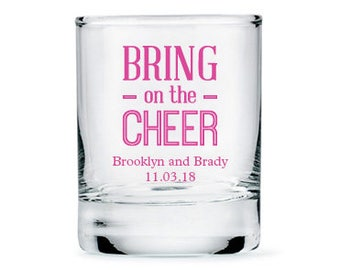 Set of 36 Bring On The Cheer Shot Glasses - Personalized Shot Glasses - Personalized Party Glasses - Wedding Glasses - Favor
