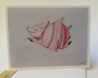 Pig Birthday Card, flying pig watercolor card, pig art, Pig Card  made on recycled paper, comes with envelope and seal