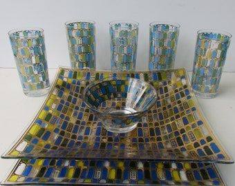 Mid Century Modern Barware Set - 5 Cera Geometric Tumblers - Square Bowl - Tray - Small Bowl - Blue Green  Gold - Arches - Vintage Cocktail