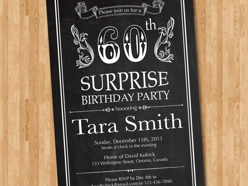 60th birthday invitation. Chalkboard Surprise Birthday. Men