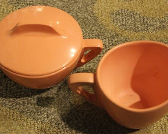 Vintage Mauve-Colored Melamine Textured PROLON WARE-Brand Manufactured Cream and Sugar Set