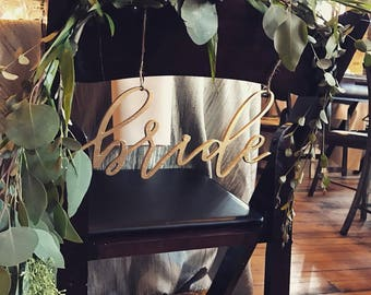 Chair Decor | Bride and Groom | Signs | Chair Swag