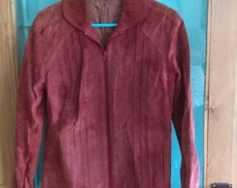 Vintage 1970s rust orange real pig suede jacket coat 12 14
