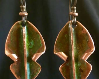Fold formed copper patina dangling earrings