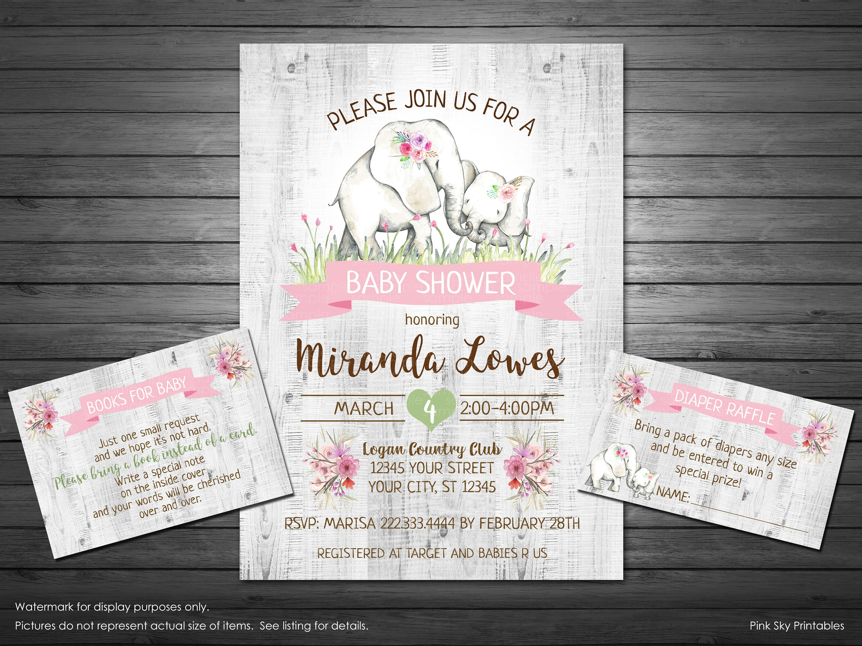 Elephant Baby Shower Invitation Printable Invitation Girl